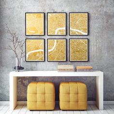 Large London City Map Gold Foil Print 6 parts up to London Wall Art Poster Gift for Home Office Decor UK England GoldenGraphy