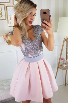 dbe541da5c Sukienka różowo-szara bombka rozkloszowana tiul