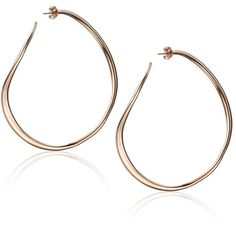 Dinny Hall Rose Gold Plated Wave Hoops ($255) ❤ liked on Polyvore featuring jewelry, earrings, rose gold, clip earrings, rose earrings, hoop earrings, rose gold plated earrings and clip on earrings