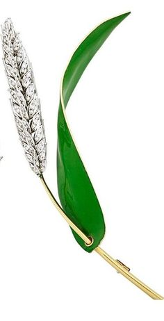DIAMOND AND ENAMELED GOLD VEGETAL BROOCHES - Sheaf of wheat, bicolor 18k gold