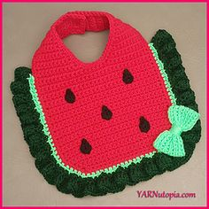 This darling bib protects a baby's outfit from spills and spit- up. This simple design can be changed by leaving off the seed embellishments and doing alternate color combinations. In less than two hours you can create a refreshingly new gift idea! Definitely a sweet accessory to catch all the mess this fruit is sure to make!