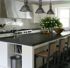 Soapstone Kitchen Countertops - Design photos, ideas and inspiration. Amazing gallery of interior design and decorating ideas of Soapstone Kitchen Countertops in decks/patios, kitchens by elite interior designers. Soapstone Counters, Soapstone Kitchen, Grey Countertops, White Kitchen Cabinets, Kitchen Countertops, Kitchen Island, Kitchen Cabinetry, Dark Counters, Kitchens