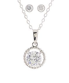 Look what I found on #zulily! Cubic Zirconia & Sterling Silver Circle Necklace & Stud Earrings #zulilyfinds