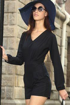 Cheap Black V Neckline Short Casual Jumpsuit online - All Products,Sexy Lingerie,Gown & Long Dress Body Lingerie, Lingerie Gown, Jumpsuit Casual, Sexy Outfits, Fashion Outfits, Fashion Trends, Sexy Gown, Cute Black Dress, Jumpsuits For Women