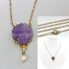 1880s Antique Victorian 14k Solid Gold Pearl Purple White Jade Pendant Necklace