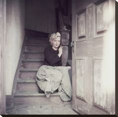 Marilyn Sitting On Stretched Canvas Print at AllPosters.com