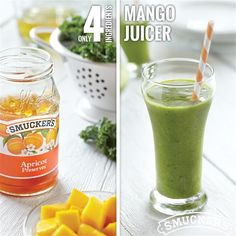 Enjoy a simple and delicious start to your day with this Mango Juicer. Puree Smucker's® Apricot Preserves, fresh or frozen cubed mango, and chopped kale with apple juice and cold water for a refreshing breakfast smoothie.