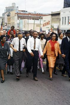 Martin Luther King leads the historic Selma March to Montgomery ca.1965.