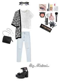 """☁️☁️"" by fedestyle25 ❤ liked on Polyvore featuring Zara, Chicwish, Studio, HoneyBee Gardens, Stila, H&M, Clinique, Gucci and Forever 21"