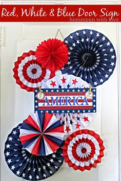 Homespun With Love: Red, White & Blue Door Sign
