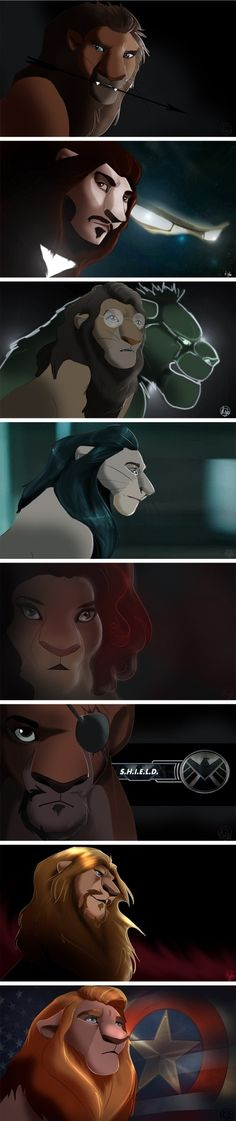 The Avengers as lions---> Loki is the best