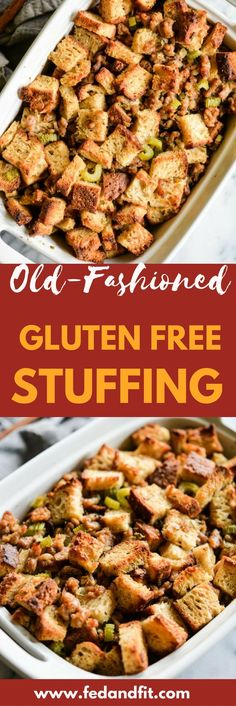 This old-fashioned gluten free stuffing combines traditional flavors of crumbled sausage, fresh herbs, onions, garlic, and celery to create the perfect side dish that will steal the show on your holiday table! #stuffing #Christmas #glutenfree
