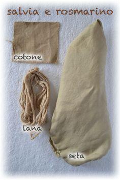 tintura naturale su seta lana e cotone, con salvia e rosmarino