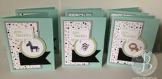 Handmade baby thank you card using Stampin' Up! Zoo Babies stamp set by Queen B Creations