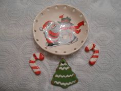 santa and snowman coiling bowl with embellishments by pammyscrafts on Etsy