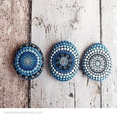 Set of 3 Painted Stones Water design Office and by RaechelSaunders