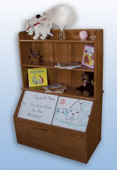 Pine bookcase plans, wooden toy box with bookshelf homemade wooden . Toy Box With Bookshelf, Toy Box With Shelf, Toy Shelves, Amish Furniture, Kids Furniture, Furniture Making, Wooden Toy Chest, Wooden Toy Boxes, Pine Bookcase