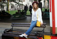 Luna park day wearing #coach shoes and purse, #forever21 top, #zara blazer and #hm hat