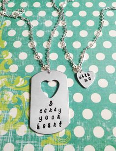 I Carry Your Heart With Me - Stamped Double Necklace by #Eight9Designs - for mother daughter sisters aunts grandma