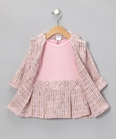 Take a look at this Pink Boucle Coat & Dress - Infant by Sweet Heart Rose on #zulily today!