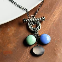 Stained Glass Jewelry Necklace Colored Glass Gems  by LAGlass, $32.00