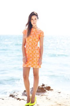 Shakuhachi Neon Lace dress on Friend in Fashion