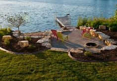 What a perfect landscape design for a lakeside lounge area/beach. What a perfect landscape design for a lakeside lounge area/beach. Landscape Edging, House Landscape, Landscape Designs, Lake Dock, Lake Beach, Lakeside Beach, Boat Dock, Lake Landscaping, Landscaping Ideas