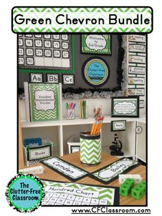 This photo shows: green chevron classroom decor, editable name plates, teacher binder, decorations, name tags, labels, schedule cards, and more (each product is less than 25 cents!!) made by The Clutter-Free Classroom