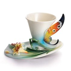 Franz Cup Saucer - Buckeye Butterfly Porcelain Cup and Saucer Set from the Franz Collection