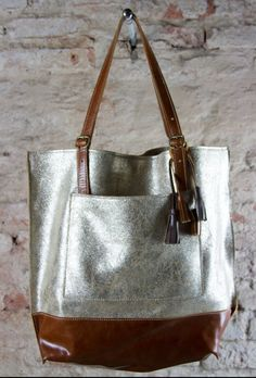 Gold leather tote women leather bag premium leather by Percibal bilder Your place to buy and sell all things handmade Tote Handbags, Leather Handbags, Leather Bag, Golden Tote, Leopard Bag, Tote Bag, Shopping Bag, Purses And Bags, Pom Poms
