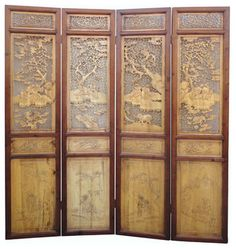 CHINESE ANTIQUE DOORS | Chinese Antique Boxwood Four Seasons Room Divider  Panel asian screens .