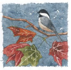 Chickadee    Watercolor Batik on Rice Paper by NatureArtbylynn, $40.00