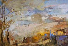 """Los paisajes de este pintor ruso parecen """"esculpidos""""; las manchas de color se superponen y entrelazan creando una ilusión tridimension..."""