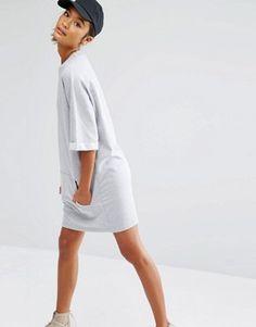 Daisy Street Oversized Sweat T-Shirt Dress With Kangaroo Pocket