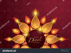 Happy Diwali festival with oil lamp, Diwali holiday Red Back