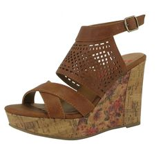 Jellypop JO0BSM276A Bettie Cognac Strappy Cut Out Wedge Sandal ** For more information, visit image link.