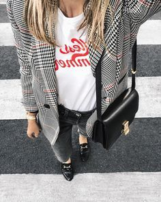 checkered blazer and t shirt outfit