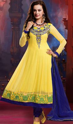 Bollywood Diva Evelyn Sharma Georgette Long Anarkali Churidar Suit Price: Usa Dollar $96, British UK Pound £57, Euro71, Canada CA$104 , Indian Rs5184.