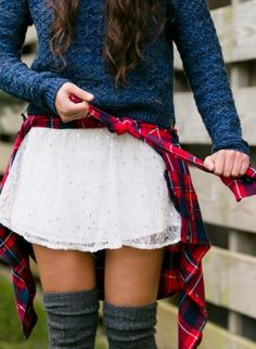 Perfect combination of lace and knit with a added spunk of a flannel tied around the waist.