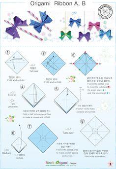 리본 종이접기 도안, 종이접기 리본 만드는방법, 리본 종이접기 설명서, 종이접기 리본, Origami Ribbon ... Origami Diagrams, Design