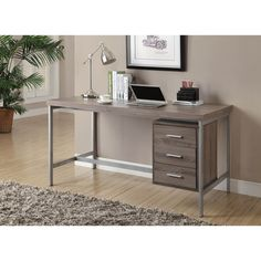 Dark Taupe Reclaimed Look Silver Metal Office Desk | Overstock.com Shopping - The Best Deals on Desks