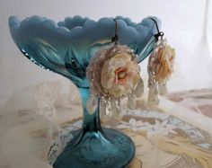 Reserved for Joanne Vintage Rose earrings, romantic flower earrings with milky opal drops, Bohemian wedding earrings, textile jewelry
