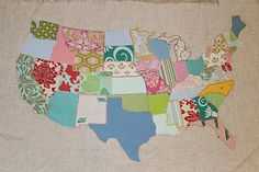 "WOW, this is one of the coolest things I have ever seen! She has a tutorial, but this is way too advanced for my ""still mastering the square pillow"" skill level. She did different applique stitches around the different states and put a little heart where she lives. This lady is my new hero!"