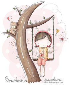 Los niños ilustración - haga pivotar chica - A4 - A3 - A5