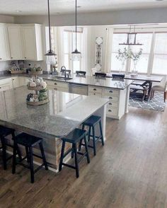 Supreme Kitchen Remodeling Choosing Your New Kitchen Countertops Ideas. Mind Blowing Kitchen Remodeling Choosing Your New Kitchen Countertops Ideas. Cheap Kitchen Countertops, Grey Kitchen Cabinets, Kitchen Cabinet Design, Kitchen Interior, Home Interior Design, White Cabinets, Grey Cupboards, Coastal Interior, Countertop Types