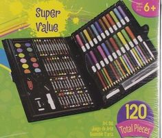 120 Pcs Darice Art Deluxe Set Drawing Painting Supplies Kids Adult Black FUN NEW #Darice