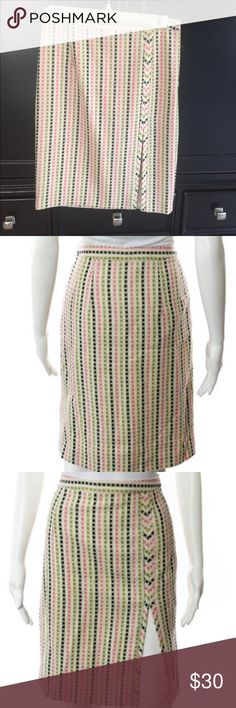Milly Multi-Color Wool Skirt Size 4 Milly Multi-Color (pink, green and black) Wool Striped Slit Detail Lined Pencil Skirt Size 4 Milly Skirts Pencil