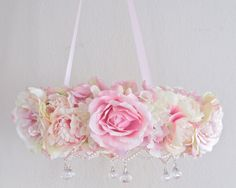 Mobile Elegant Shabby Chic Flower Wreath Chandelier by OohLaLaBabe