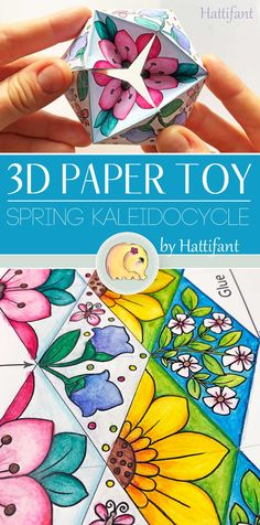 An absolute fun Paper Toy to Color, Craft and Play with! Turn this Paper Toy Spring Kaleidocycle endlessly. Origami Toys, Paper Crafts Origami, 3d Paper, Paper Toys, Art For Kids, Crafts For Kids, Summer Crafts, Computer Paper, Spring Design