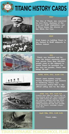 Free homeschool history cards for the sinking of the Titanic on April 15 to add to the Titanic Lapbook. Modern History, British History, History Facts, World History, American History, Native American, Titanic Ship, Rms Titanic, Titanic History